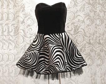 Corset-dress with petticoat, goth, rockabilly