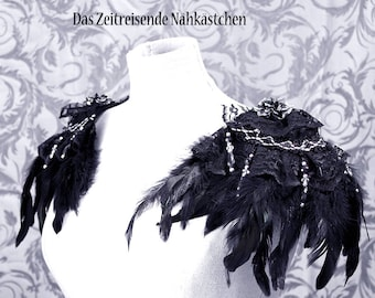 Epaulettes, Epaulet, Shoulder Piece, Gothic, Steampunk, with feahers, lace and pearl fringe
