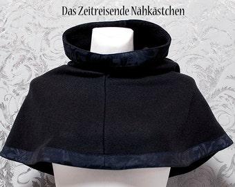 c0a91ca9d6b7d3 Mittelalterliche Gugel aus Fleece und Jaquard, schwarz, Chaperon, Schal