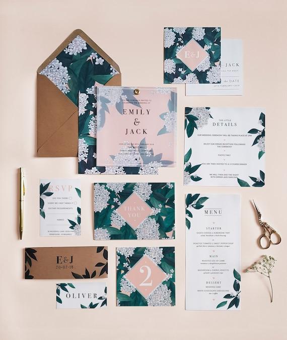 Blossom Wedding Invitation Suite, Wedding Invites, Botanical Wedding Stationery, Handmade Wedding Invites