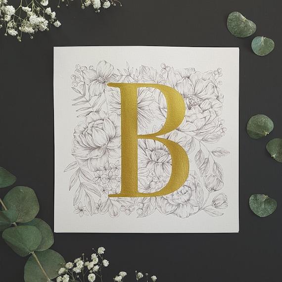 Gold Alphabet Print, Personalised Print, Letter Print, Gold Ink, Square Alphabet Print