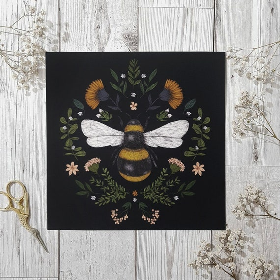 Botanical Bee Print, Bee Art, Bee Gift, Floral Art, A4 Bee Print, Square Bee Print, Illustration