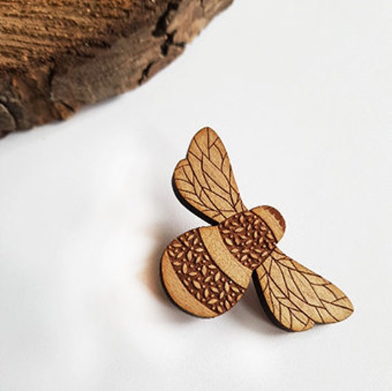 Wooden Bee Brooch, Wooden Jewellery, Bee Jewellery, Handmade Brooch, Bee Gift