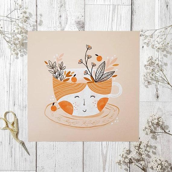 Floral Teacup Print, Floral Nursery Print, Baby Gift, Cute Teacup Illustration, Teacup Print, Square Floral Teacup Wall Print, Illustration