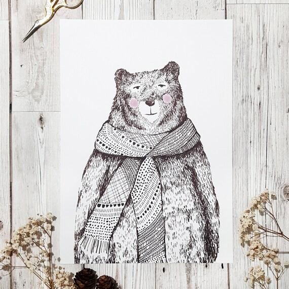Winter Bear Print, A4 Winter BearPrint, Bear Gift, Bear Illustration, Art, Nursery decor,