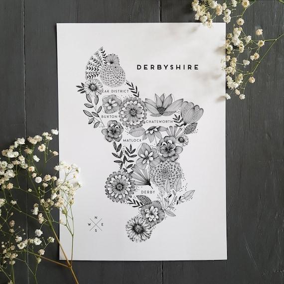 Derbyshire Map Print, Derbyshire Art, Derbyshire Map, A4 Derbyshire Print, Floral Print, Derbyshire Map Gift, Floral Illustration