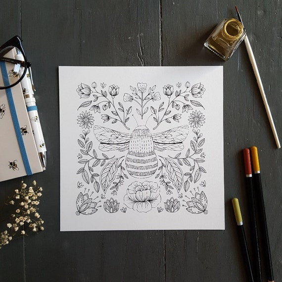 Flora Colouring In Prints Pack of 5, Colour In Prints, Bumble Bee Print, Floral Print, Craft Project, Drawing, Nature Art