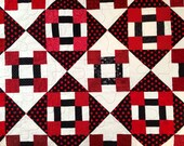 FULL DOUBLE QUILT Chunky Churn Dash Block Swap Oversized Twin Lap Children Handmade Cotton Patchwork Quilt Blanket Comforter Red White Black