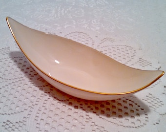 "Vintage Atomic Relish Dish, Lenox ""Beverly Collection"" Condiment, Mid Century Modern, Beige Porcelain, Atomic, 24 kt Gold Trim, Circa 1960s"
