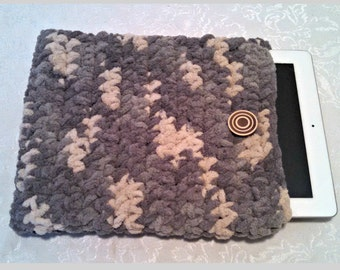 Tablet iPad Case, Chenille with Vintage Button, 10 Inch Hand Crochet Tablet Sleeve, Gray, #SS-B10-2, Washable, Free Domestic Shipping