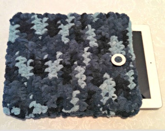 Tablet iPad Case, Chenille with Vintage Button, 10 Inch Hand Crochet Tablet Sleeve, Aqua, #TD-B14-3, Washable, Free Domestic Shipping