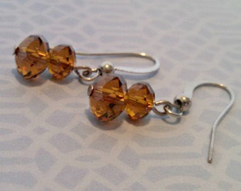 Vintage Drop Earrings, Amber Glass, Faceted Double Bead Dangle Earrings, Pierced, Silver Tone, Circa 1970s, Includes Gift Box