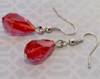 Vintage Drop Earrings, Ruby Glass, Faceted Teardrop Dangle Earrings, Pierced, Silver Tone, Circa 1970s, Includes Gift Box
