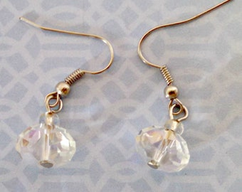 Vintage Drop Earrings, Clear Prism Glass, Faceted Oval Bead Dangle Earrings, Pierced, Silver Tone, Circa 1970s, Includes Gift Box