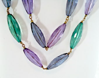 Vintage Necklace, Faceted Translucent Beads in Green Blue Purple, Boho Style, 48 Inch Necklace, Mid Century, Circa 1960s, Includes Gift Box
