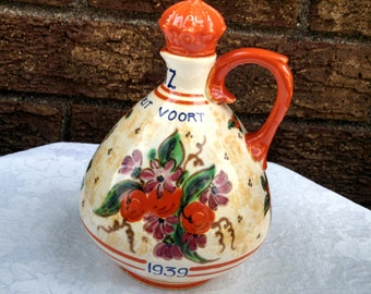 Vintage Gouda Decanter, Commemorating the Birth of Princess Irene, Art Pottery Jug by Zuid Holland PZH, Hand Painted, Dated 1939, RARE