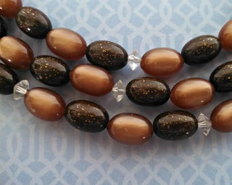 Vintage Necklace, 3 Strand Lucite Beads, Moonglow and Sparkle Brown Beads, Adj Hook Clasp, Mid Century, Circa 1950s, Includes Gift Box