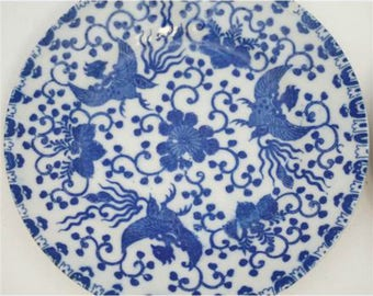Vintage Phoenix Ware Dessert Plates, Set of 4, Blue and White Japanese Porcelain, Wall Plates, Bird Decor, Circa 1930s