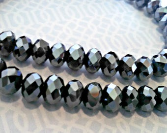Vintage Necklace, Black Aurora Borealis Faceted Glass Beads, Amazing Sparkle, Adjustable Length, Never Worn, Circa 1970s, Includes Gift Box