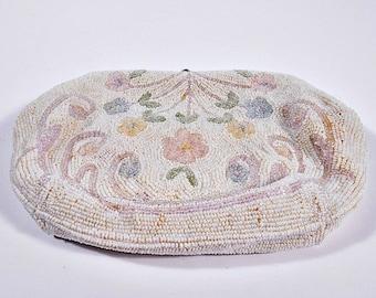 Vintage Evening Bag Clutch, Italian Beads, Handmade Sarne Import Exclusive, with Original Mirror, Circa 1940s