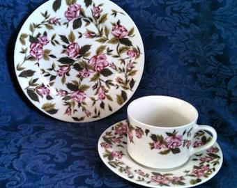 "Vintage Tea Set Trio, ""Rosalinda"" by Farberware, Cottage Chic Roses, Tea Cup Saucer Dessert Plate, Circa 1990s"
