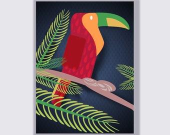 Illustration child toucan