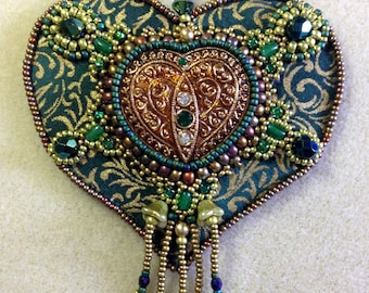 Bead Embroidery Kit: Heart of Gold (in green and gold)
