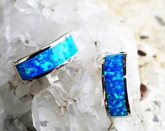 Silver & Blue Opal earrings