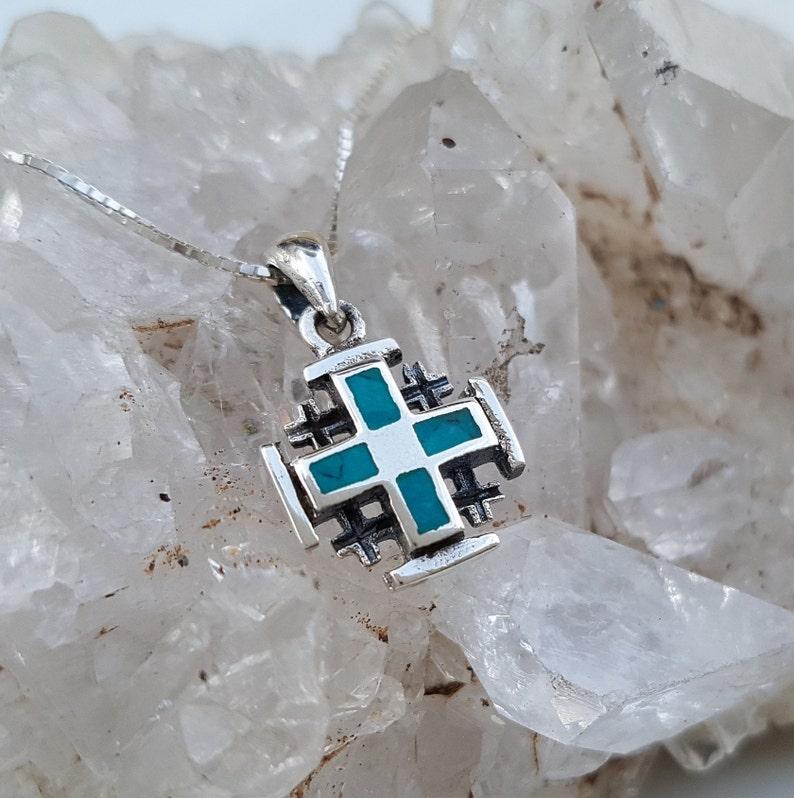 Stone from the Holy Land Unisex Cross Jerusalem cross Pendant With Turqouise Eilat Stone