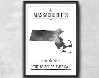 MASSACHUSETTS State Typography Print, Typography Poster, Massachusetts Poster, Massachusetts Art, Massachusetts Gift, Massachusetts Decor