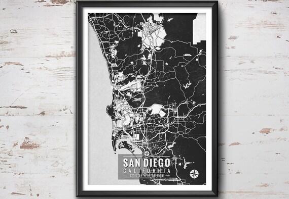 SAN DIEGO California Map with Coordinates San Diego Wall Art | Etsy