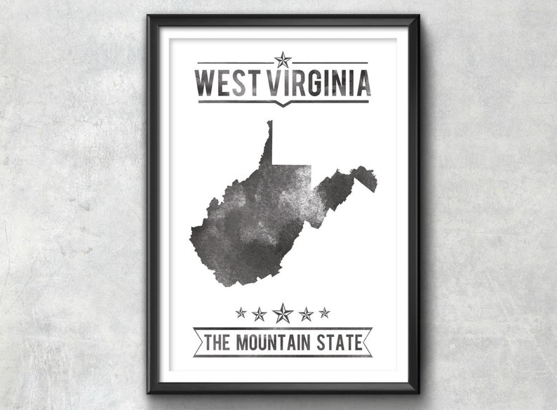 West Virginia Decor Typography Poster West Virginia Gift West Virginia Poster WEST VIRGINIA State Typography Print West Virginia Art