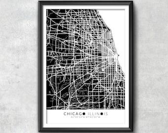 Carte de CHICAGO avec coordonnées, Chicago carte, carte Art, carte d'impression, impression de Chicago, Chicago Art, cadeau de Chicago, décor de Chicago, Chicago affiche