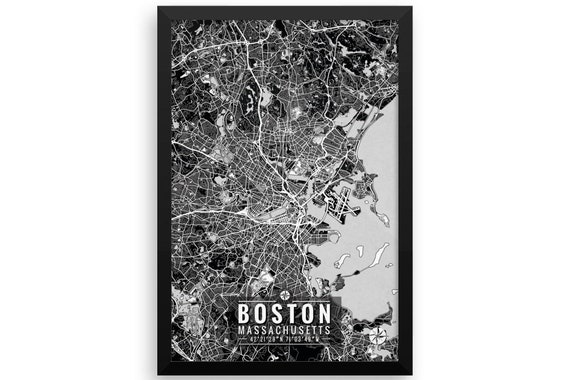 Boston Map Boston Wall Art Boston Map Art Map Art Map Etsy
