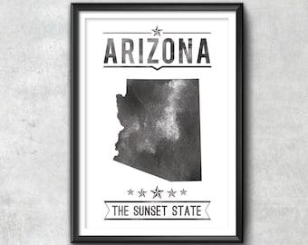 ARIZONA State Typography Print, Typography Poster, Arizona Poster, Arizona Art, Arizona Gift, Arizona Decor, Arizona Print, Arizona Map, Map