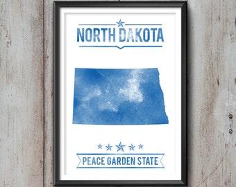 NORTH DAKOTA State Typography Print, Typography Poster, North Dakota Poster, North Dakota Art, North Dakota Gift, North Dakota Decor, Map