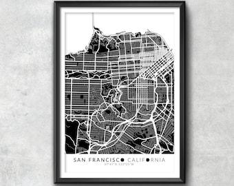 SAN FRANCISCO Map with Coordinates, San Francisco Map, Map Art, Map Print, San Francisco Print, San Francisco Art, San Francisco Gift, Map
