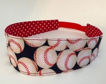 Handmade Baseball Headband, Adult Headband Woman, Womens Headband, Reversible Fabric Headband For Women,