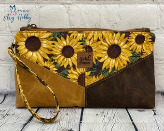 Sunflower Harlequin Pouch, Floral Wristlet, Cotton & Waxed Canvas Pouch, Waxed Canvas Wristlet, Ready To Ship