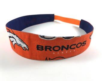 Broncos Handmade Fabric Headband, Adult Headband Woman, Womens Headband, Reversible Fabric Headband For Women,