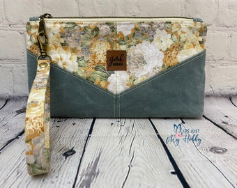 Floral and Sage Green Harlequin Pouch, Floral Wristlet, Cotton & Waxed Canvas Pouch, Waxed Canvas Wristlet, Ready To Ship