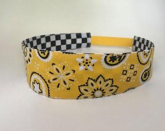 Yellow Paisley Handmade Fabric Headband, Adult Headband Woman, Womens Headband, Reversible Fabric Headband For Women,
