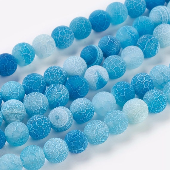 Frosted Cracked Agate Round Beads 8mm Grey 8 Pcs Gemstones DIY Jewellery Making