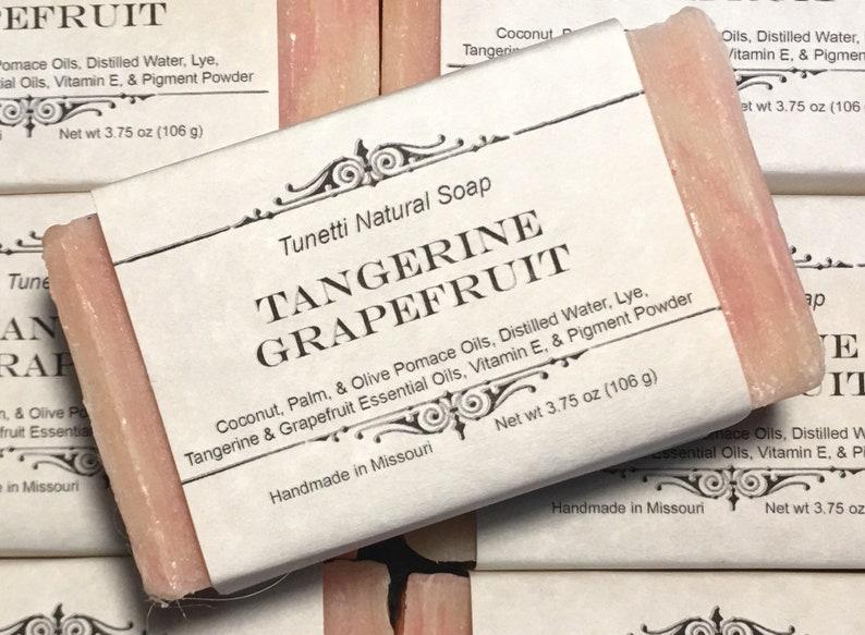 Natural Organic Tangerine-Grapefruit Soap  All Natural Soap image 0