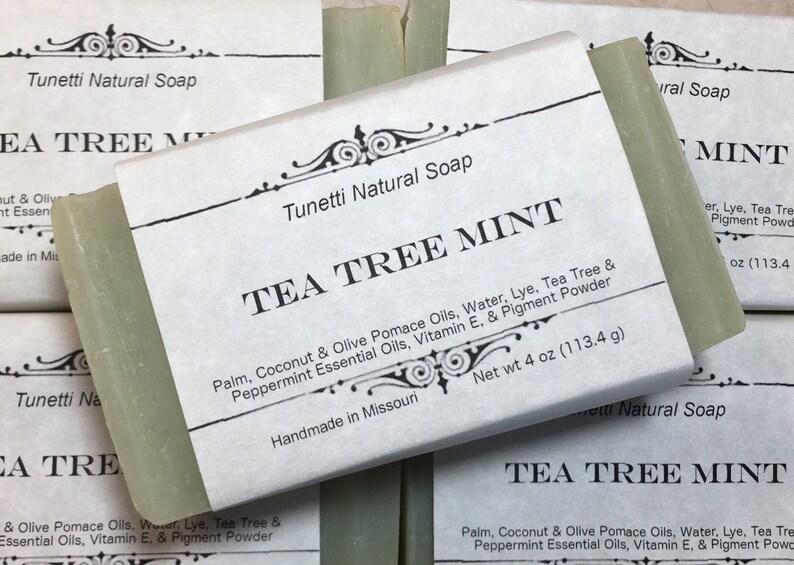 Natural Organic Tea Tree Mint Soap  All Natural Soap image 0