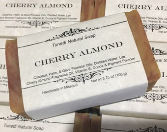 Cherry Almond Homemade Soap, Handmade soap, Natural Soap, Cold Process Lye Soap