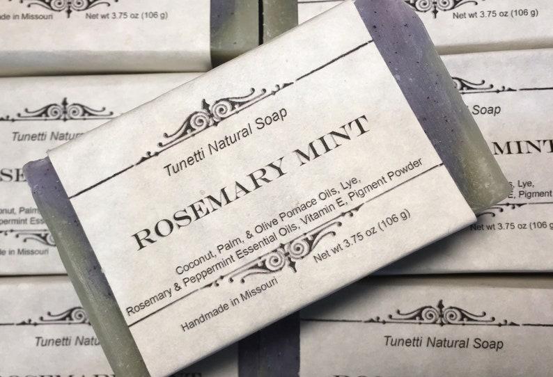 Natural Organic Rosemary Mint Soap Handmade Natural Soap image 0