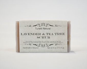 Lavender & Tea Tree Scrub Soap -  All Natural Soap, Handmade Soap, Homemade Soap, Handcrafted Soap