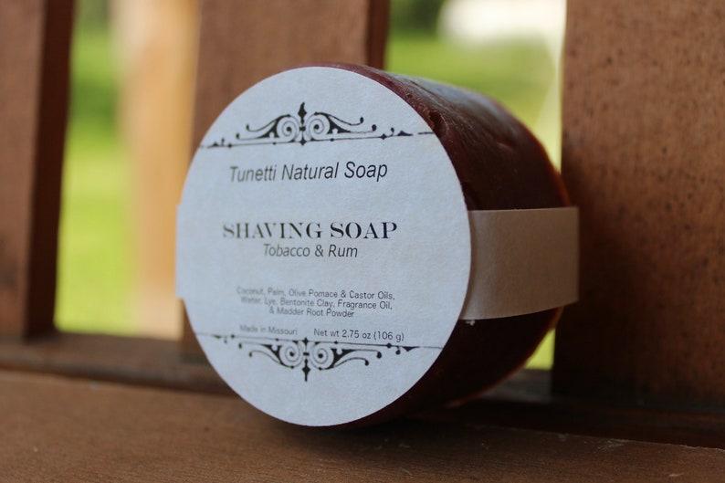 All Natural Shaving Soap  Tobacco & Rum image 0