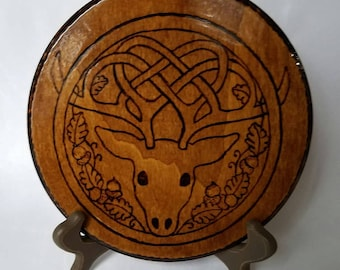 Wood Burned Stag Plaque
